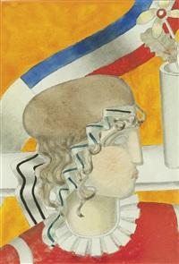 profil de femme au bandeau tricolore by joseph csaky
