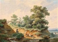 landschaft mit gehöft und hirtin by franz xaver von hofstetten
