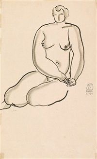 seated nude by sanyu
