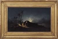 notturno, accampamento nell'oasi by hermann david salomon corrodi