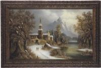 kirchgang in weiter winterlandschaft by giovanni alberti