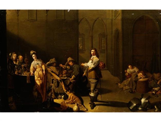 nobel gekleideter herr mit erhobenem weinglas, auf den gelungenen beutezug trinkend by jacob duck