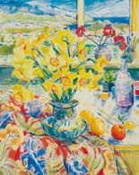 still life with daffodils overlooking wellington harbour by shona mcfarlane