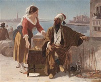 a turkish pipe seller on a venetian quayside by prosper georges antoine marilhat