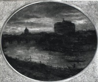 view of rome at the tiber with the castel st. angelo by etienne marie theodore bosch