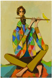 flautist with yellow bird by david pryor adickes