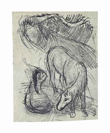 studies of horse and kneeling woman by paul gauguin