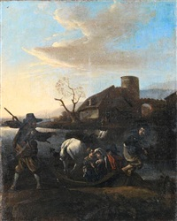 peasants boarding a ferry with a donkey, a village in the distance by jan miel
