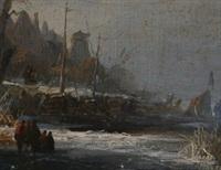 paysage de riviere en hollande animé de personnages près d'un bateau en bois et 'koek-en-zopie' by antonie waldorp