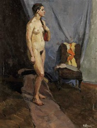 standing nude in the artist's studio by boris vladimirovich arakcheev