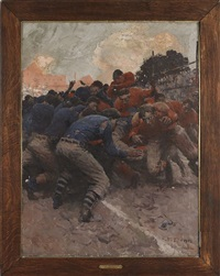 illustration of a rugby match by harvey t. dunn