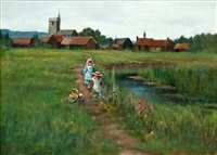 playing children on a summer field by maria wiik