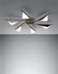 rare six-armed ceiling light by angelo