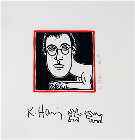 self portrait with an additional hand drawing by keith haring