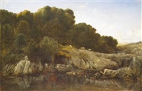 shepherd and sheep by a rocky mountain pool by thomas danby