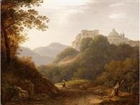 a view of ariccia with the palazzo chigi by giambattista bassi