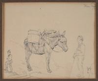 bepackter esel mit zwei hirtenknaben und ziege (+ bleistiftskizze einer landschaft, verso) by carl morgenstern