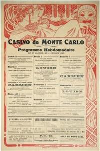 casino de monte-carlo. programme hebdomadaire du 30 janvier au 5 février1922.