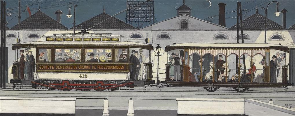 Le tramway de notre enfance m moires by paul delvaux on artnet for Paul delvaux le miroir