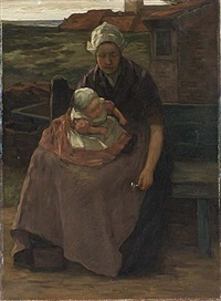 a fishersmans wife with her child (+ another; 2 works) by marinus van der maarel