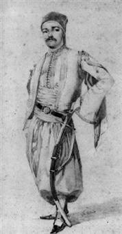 portrait en pied d'un turc by théodore valerio