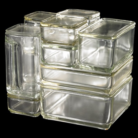 Kubus glass storage container set by Wilhelm Wagenfeld on artnet