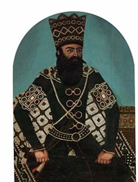 a persian shah seated on a magnificent basra carpet (shah fath ali shah qajar?) by anonymous-persian (19)