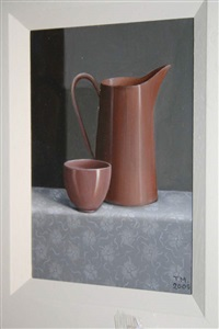 pink jug & bowl by trudie mooney