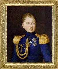 william i, king of württemberg, in blue coat with gold epaulettes and aiguillettes from the right shoulder, wearing the badge of the order of military merit of württemberg ... by johann michael holder