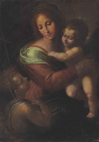 the madonna and child with saint john the baptist by giulio cesare procaccini