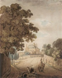 figures on a road with a country house beyond by george arnald