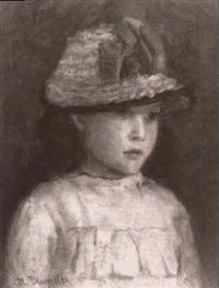 portrait of a young girl wearing a hat by m. dempster