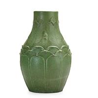 large bulbous vase with irises by grueby