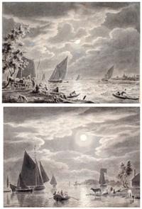 riviermonding bij maanlicht, overzetpontje bij maanlicht (2 works) by cornelis van noorde