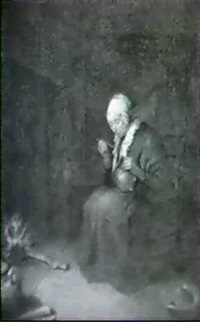 a dutch woman seated by a fireside eating from a pot by john w. perrin