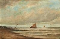 mer agitée et barques près de lombartzyde by louis artan de saint-martin