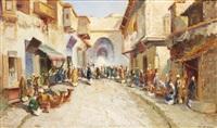 scène de rue au caire by martin lindenau