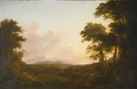 view of crosbie castle in ayrshire, with the isle of arran beyond by alexander nasmyth