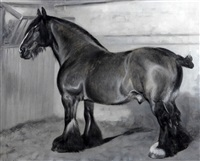 clydesdale horse in a stable by frank babbage