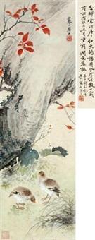 红叶鹌鹑图 by jiang hanting