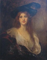young beauty wearing hat by rené avigdor
