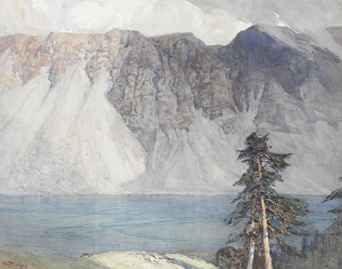 mountain scene with lake by robert gwelo goodman
