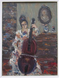 woman playing the cello by yitzhak frenkel-frenel
