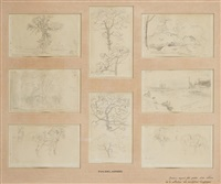 huit études dont quatre d'arbres, deux de chevaux, une de rocher et une de paysage (8 studies) by eugène delacroix