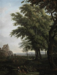 figures in a classical landscape, with chepstow castle on the horizon by hendrik frans de cort