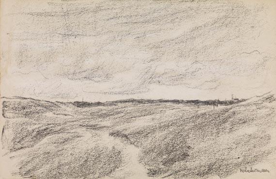 freies feld (dünenlandschaft mit dorfsilhouette) by max liebermann