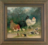 hen, rooster, and thirteen chicks by mary b. leisz