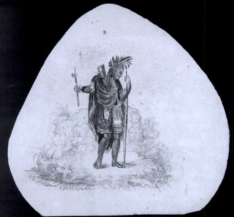 An American Indian with bow, arrows and tomahawk, according