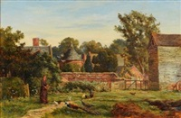 a woman feeding peacocks, doves and poultry by a garden wall, view to stable buildings and a country house beyond by william banks fortescue