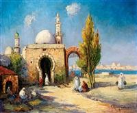 personnages devant une mosquée by henri fabre
